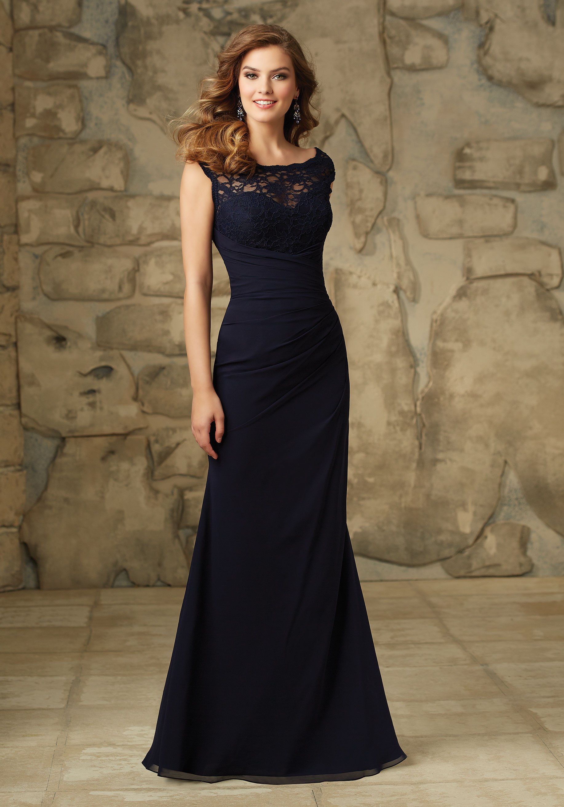 105. PRICE €250. Beautiful Lace and Chiffon Bridesmaid Dress with Illusion  Neckline Designed ... f9ca91a7f5b1