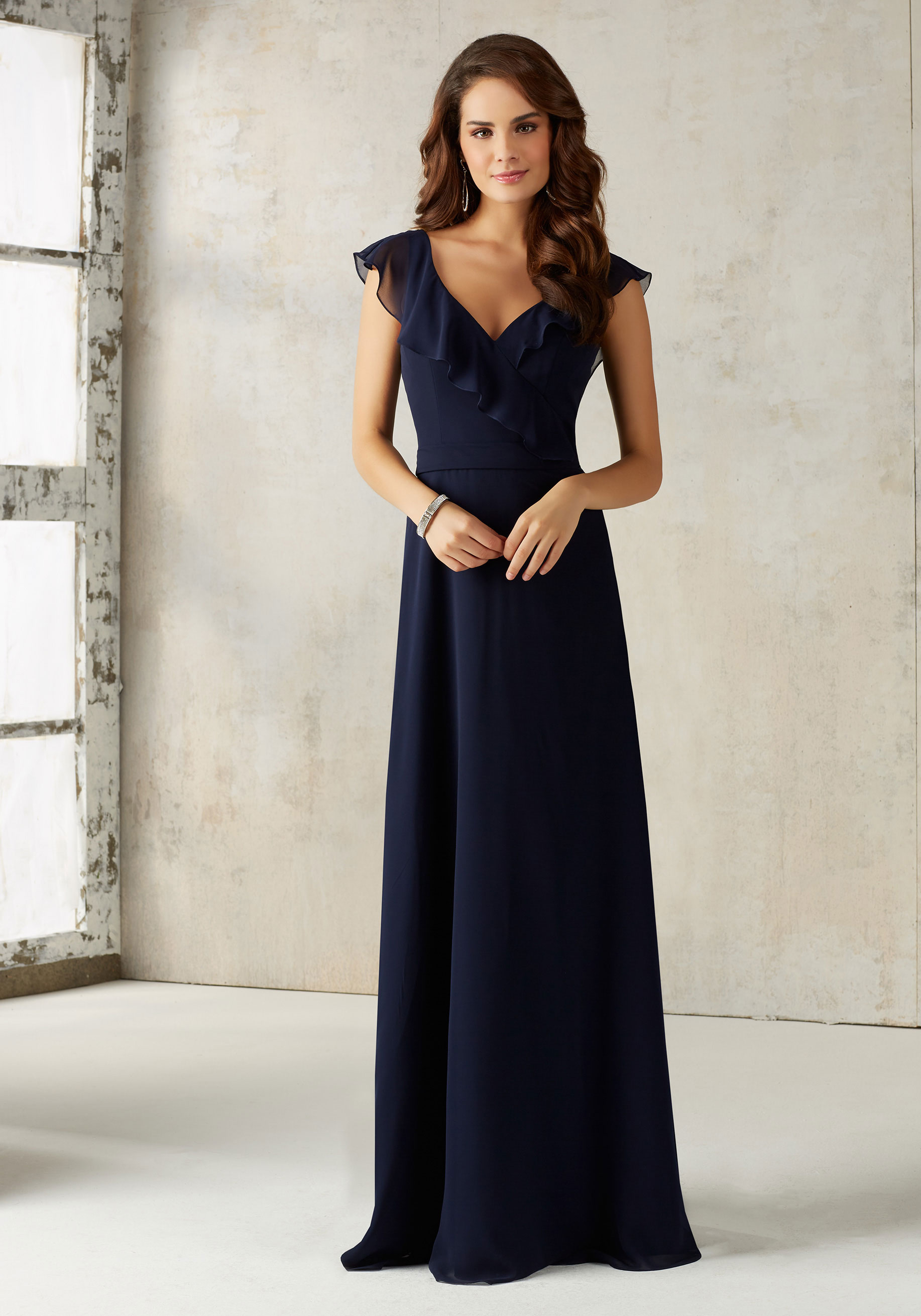 b9e47c43b7f 21527. PRICE €250. This Stunning Chiffon Bridesmaids Dress Features a  Romantic Ruffled V ...