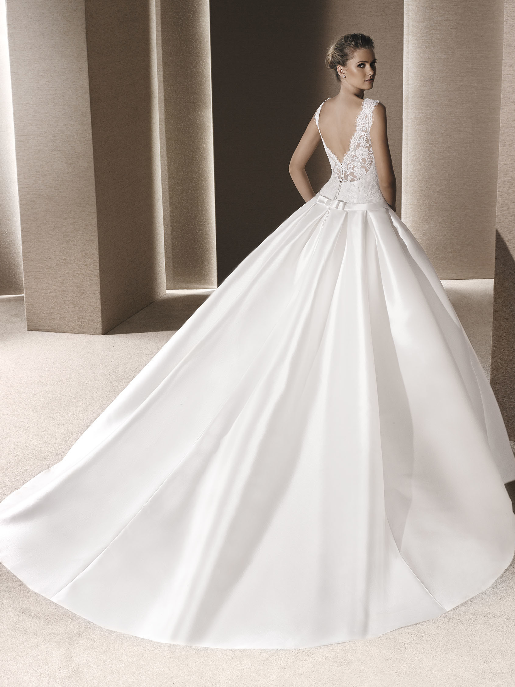 Ballgown Style Wedding Dress In Mikado Silk Sleeveless Lace Bodice With Bateau Illusion Neckline Over Sweetheart Plunging V Back