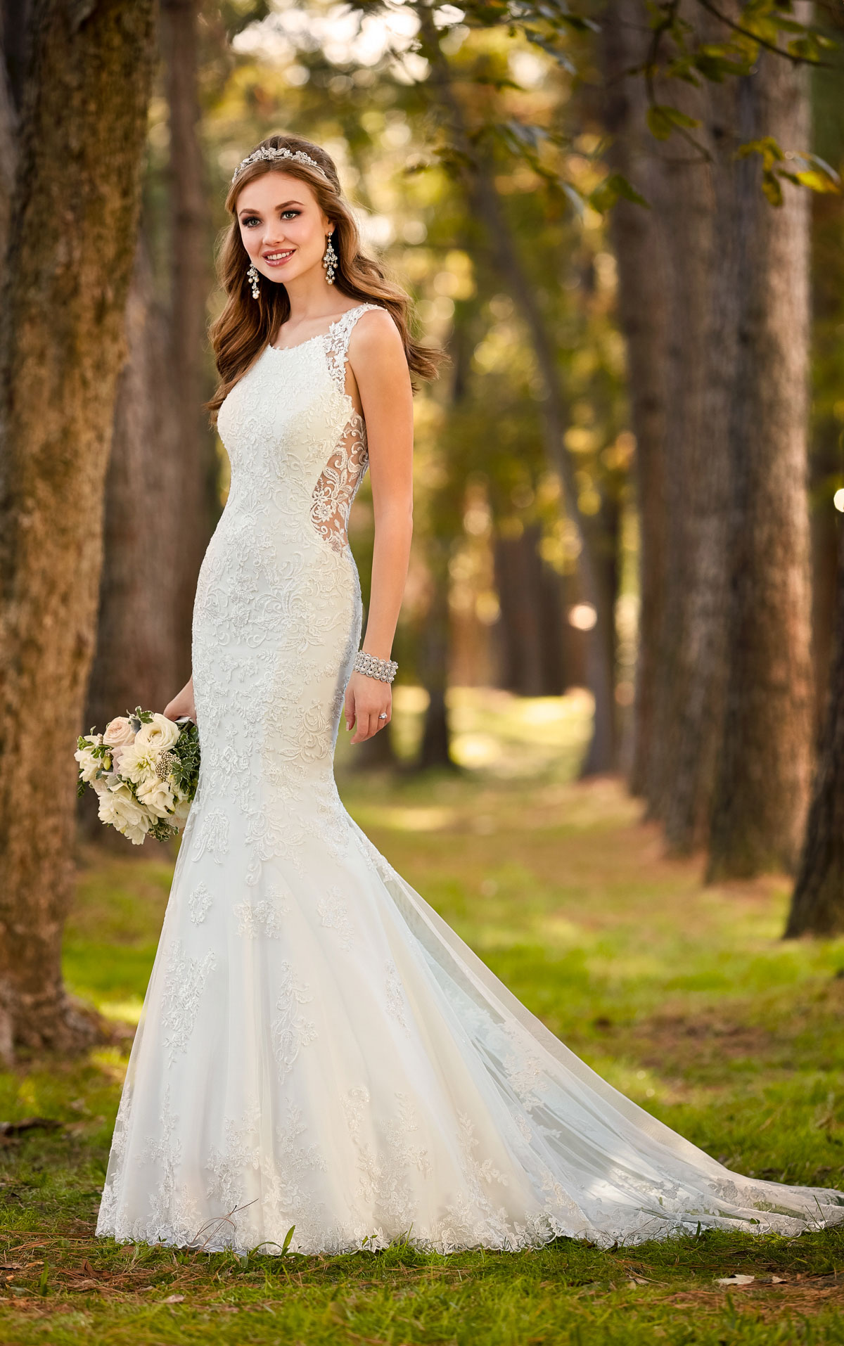 With A Modern High Neckline And Classic Romantic Lace This Backless Wedding Dress From Stella